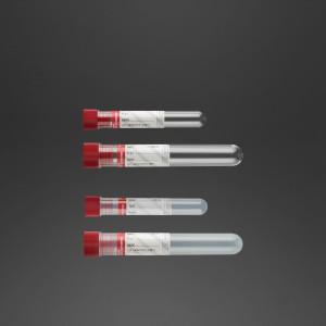 Tube 16 x 100 mm avec activateur de la coagulation et silicone à l'intérieur bouchon rouge