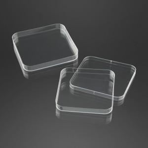 Boîte de pétri carrée 120 x 120 mm avec trois ergots sterile