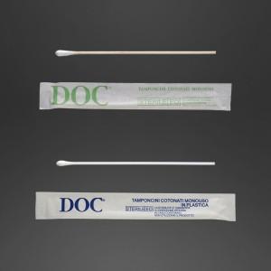 Ecouvillons en bois avec pointe en coton emballage individuel stérile