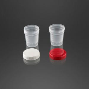 Pot à urine 120 ml avec surface d'écriture bouchon rouge vissé
