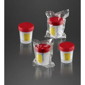 Pot à urine 120 ml avec étiquette avec bouchon à vis rouge emballage individuel cleanroom ISO 8