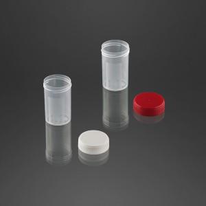 Pot à urine avec surface d'écriture 60 ml avec bouchon non vissé à part bouchon blanc