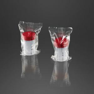 Pot à urine avec surface d'écriture 60 ml sterile avec bouchon à vis rouge emballage individuel