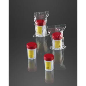 Pot à urine avec étiquette 60 ml avec bouchon rouge sterile